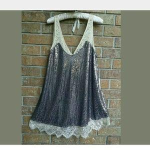 Sequin mini swing v neck dress